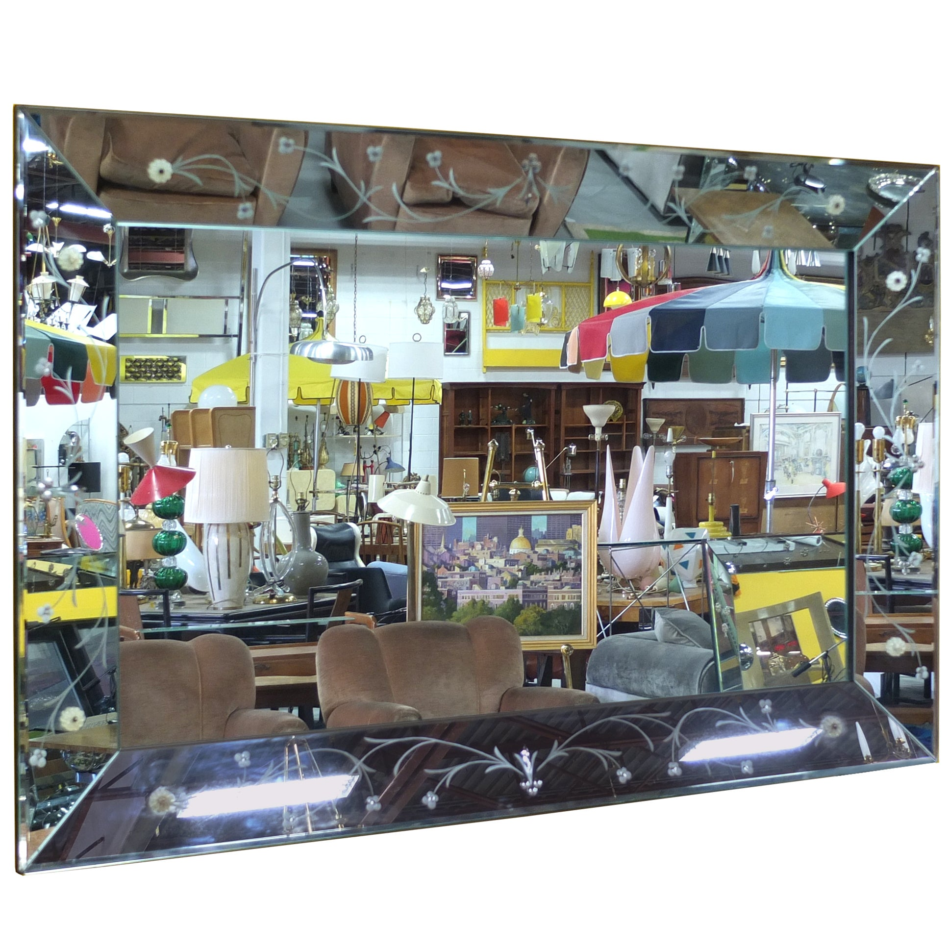 """Large Italian Etched Glass Mirror 60"""" x 40"""""""