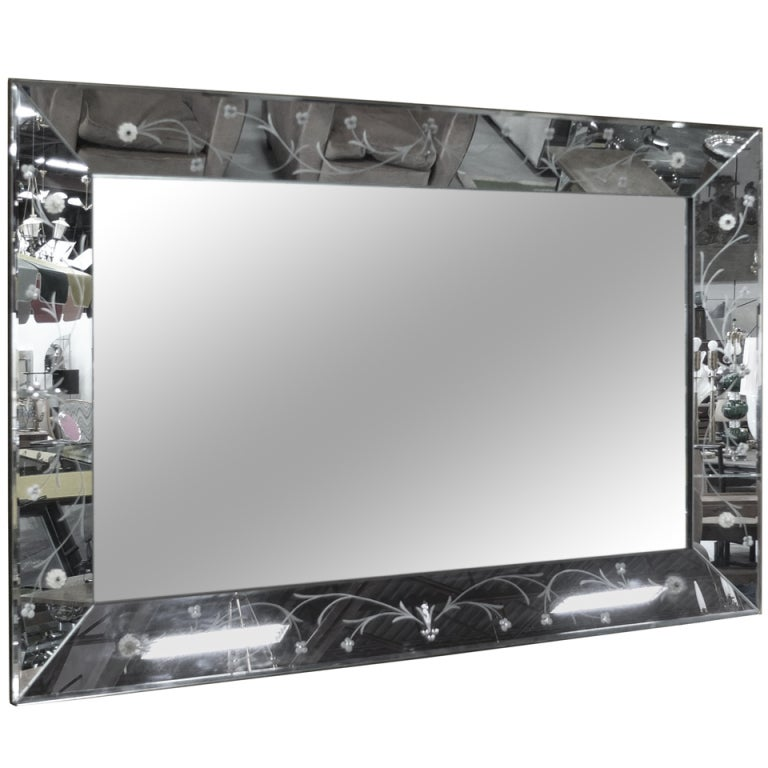 large rectangular etched glass mirror 60 x 40 at 1stdibs. Black Bedroom Furniture Sets. Home Design Ideas