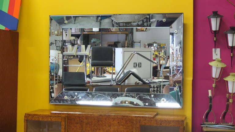 Large rectangular etched glass mirror 60 x 40 at 1stdibs for Mirror 40 x 60