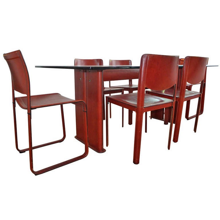 Tito Agnoli For Matteo Grassi Leather Dining Table And Six Chairs At 1stdibs