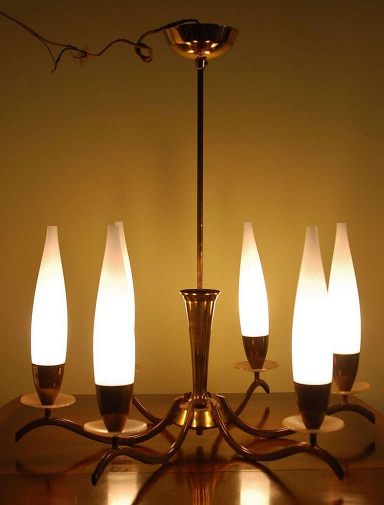 Bras And Opaline Candle Six Arm Chandelier For Sale At 1stdibs
