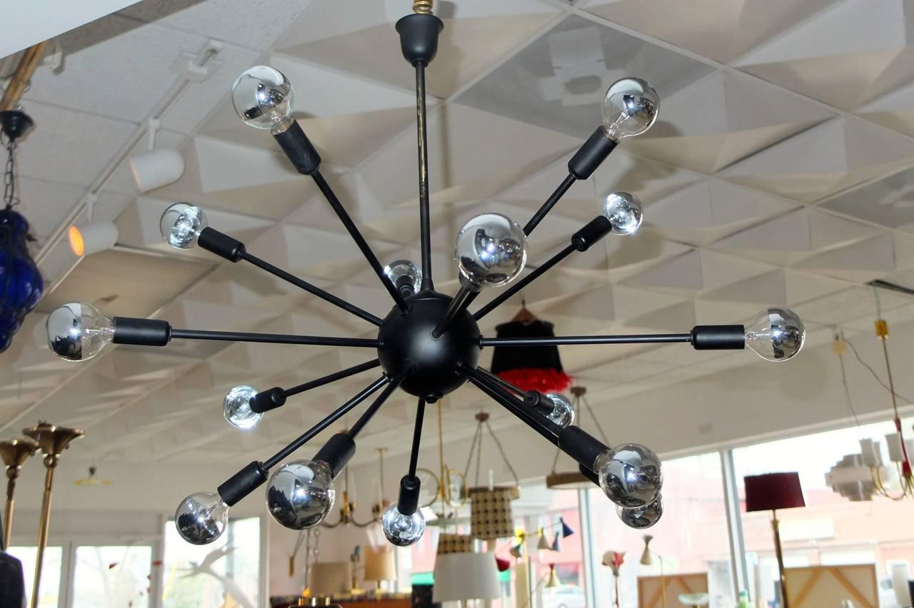1950s Black on Brass Sputnik Chandelier For Sale 3