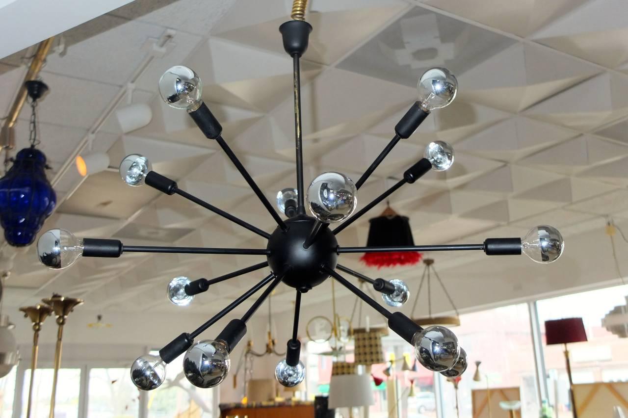 1950s Black on Brass Sputnik Chandelier For Sale 4