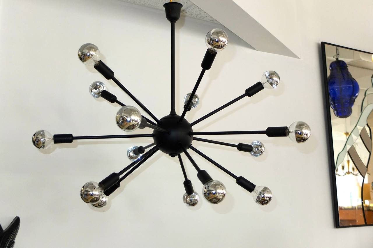 Mid-20th Century 1950s Black on Brass Sputnik Chandelier For Sale