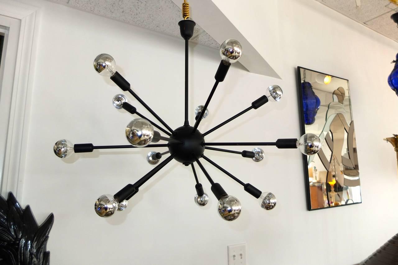 1950s Black on Brass Sputnik Chandelier For Sale 1