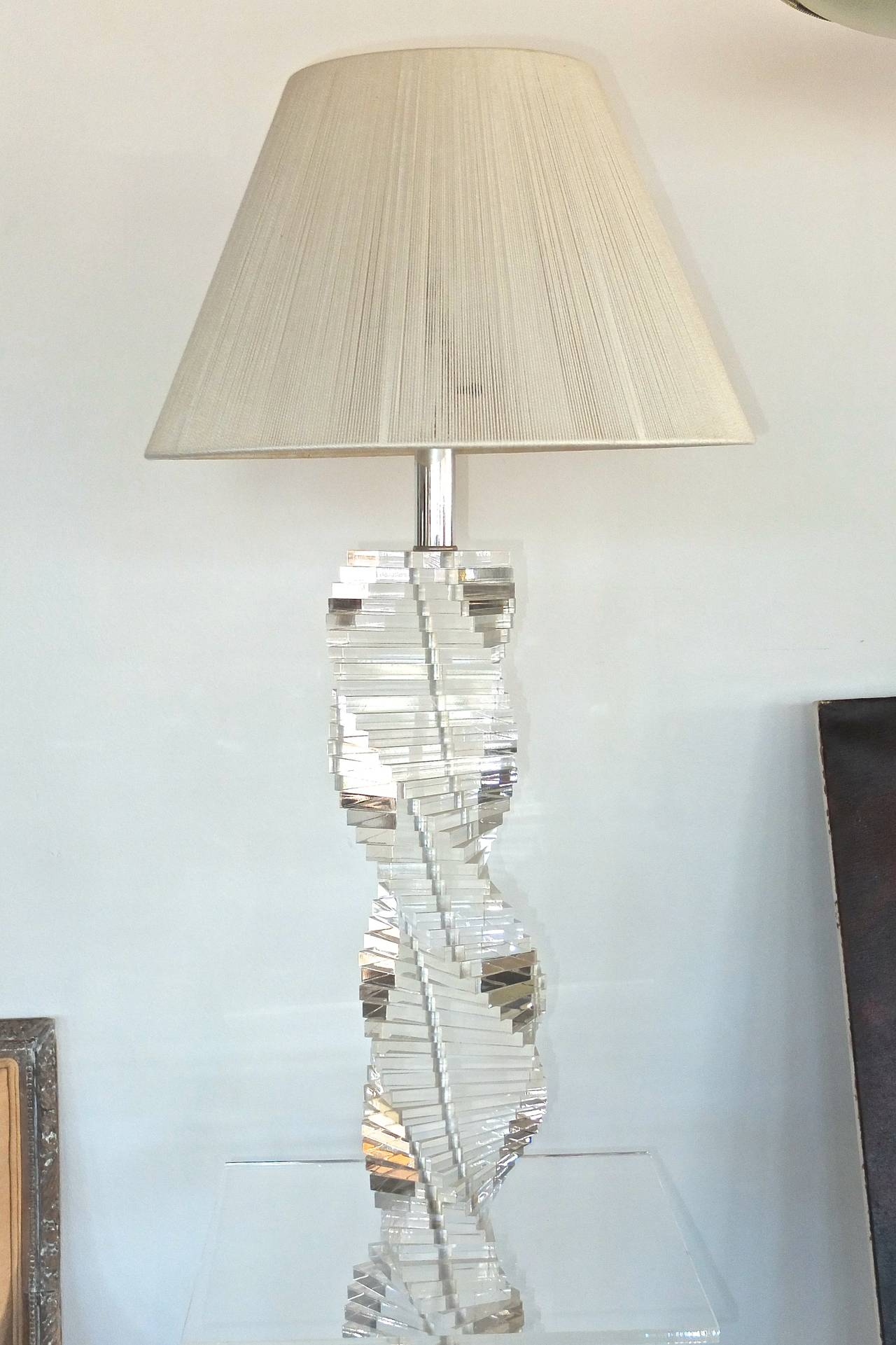 Lucite Stacked Block Floor Lamp With Side Table For Sale