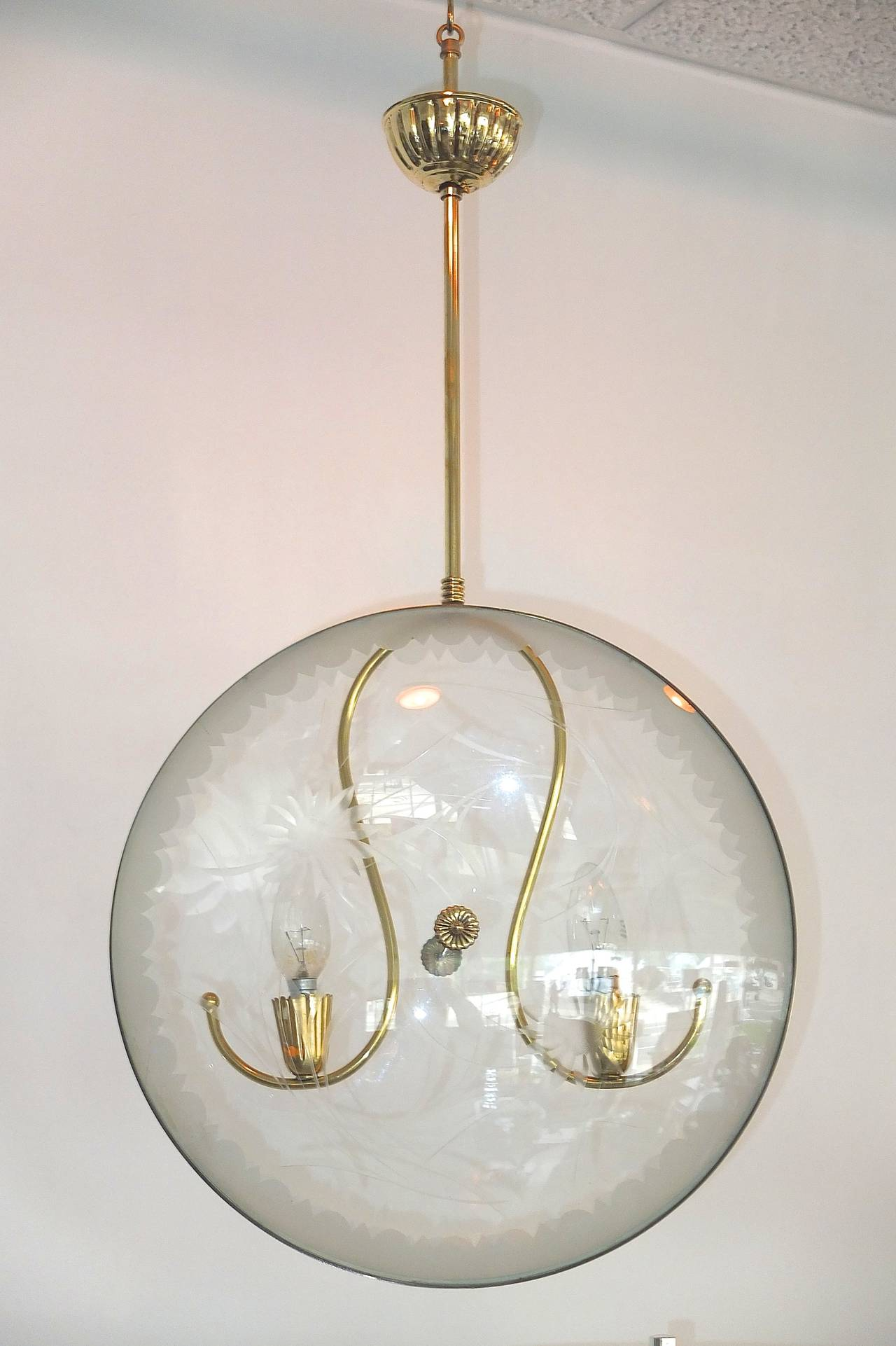 Mid-Century Modern 1950s Italian Pocket Watch Pendant Light in the Style of Pietro Chiesa For Sale