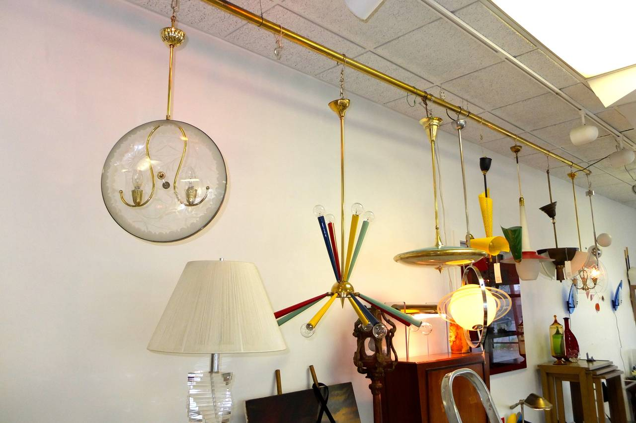 1950s Italian Pocket Watch Pendant Light in the Style of Pietro Chiesa For Sale 1