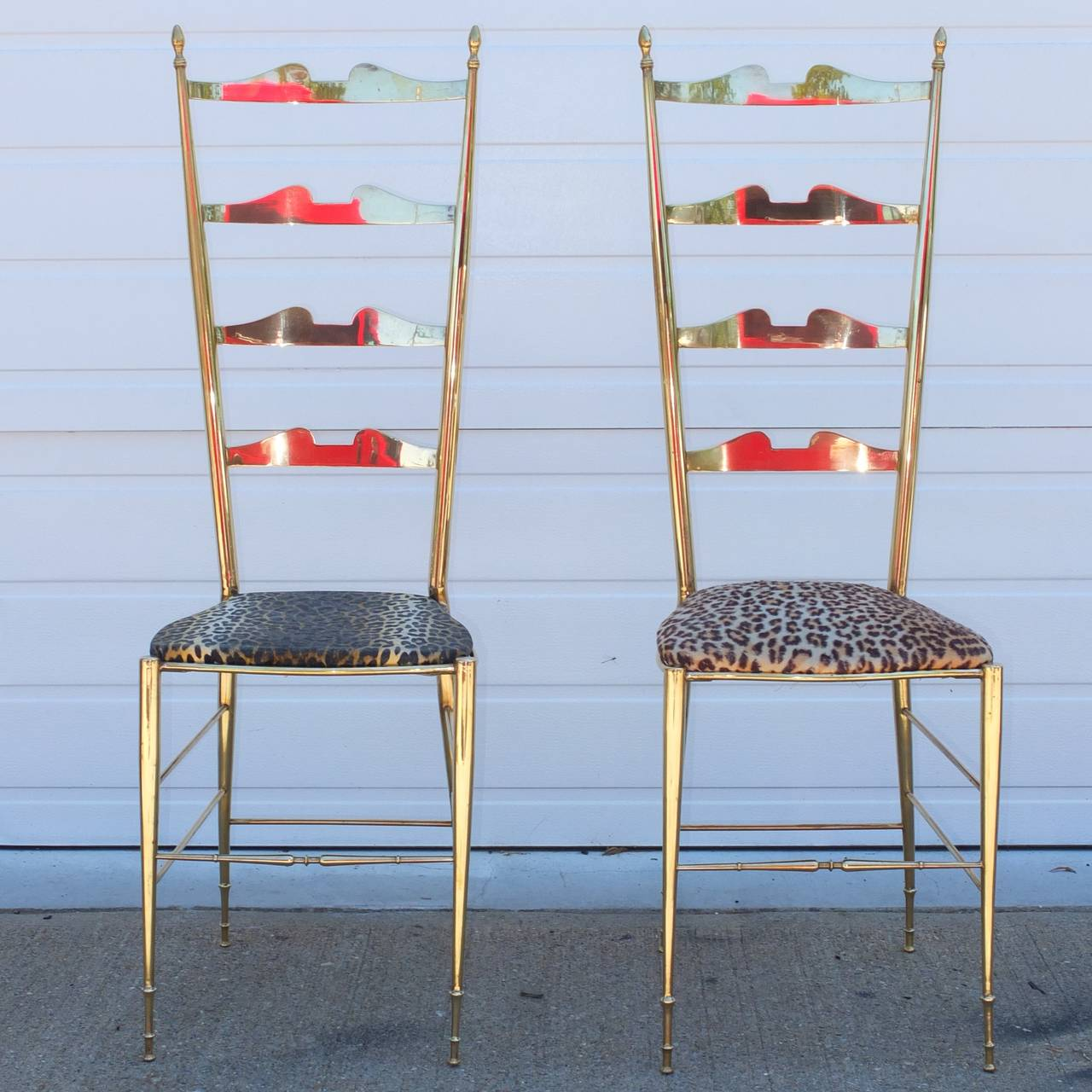 Pair of Brass Chiavari Ladder Back Chairs For Sale 3