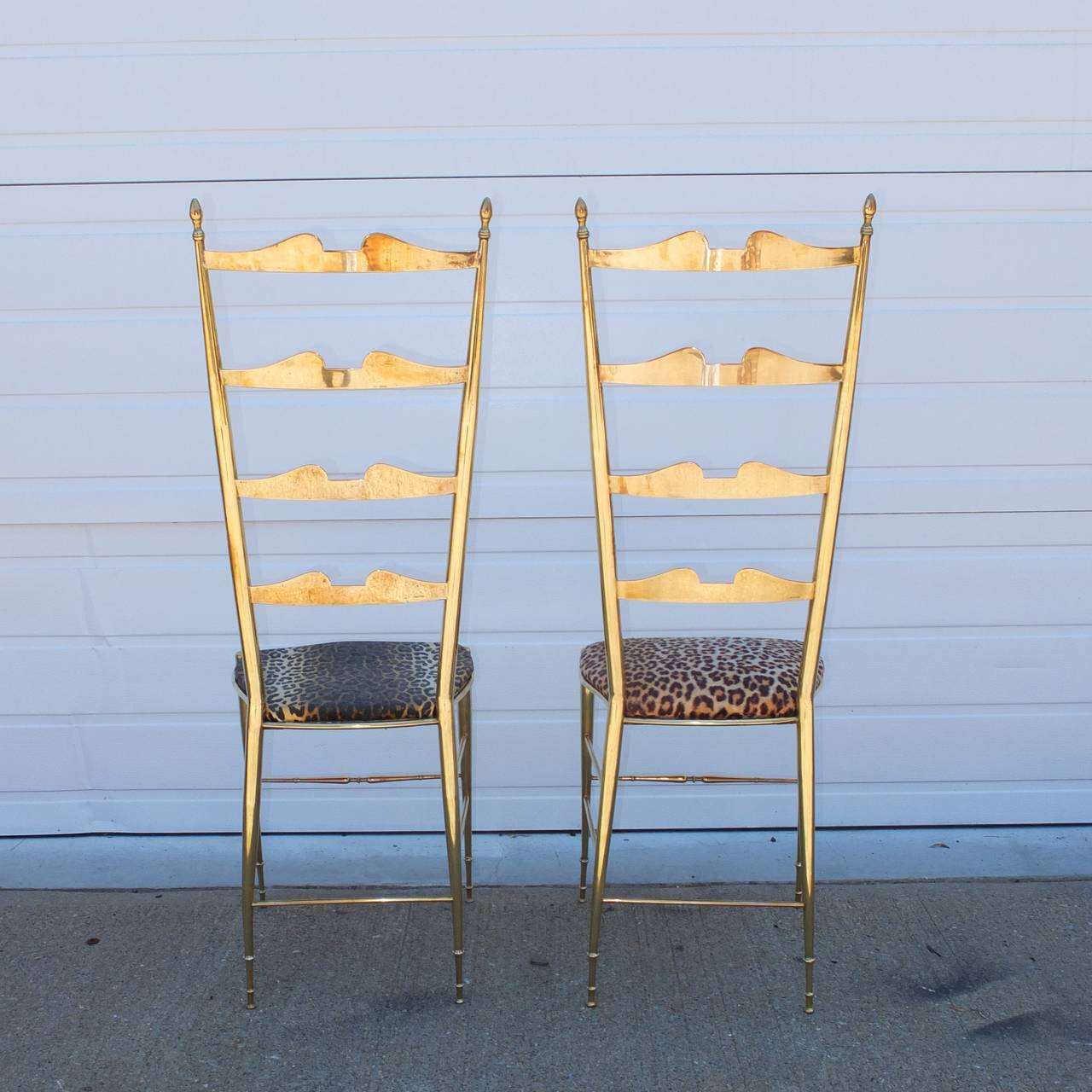 Pair of Brass Chiavari Ladder Back Chairs For Sale 2