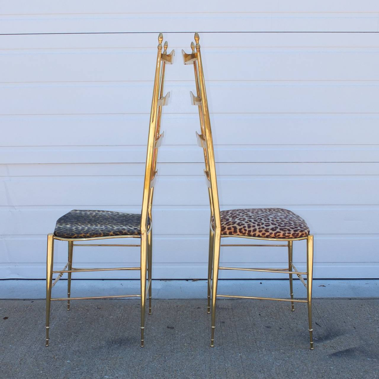 Pair of Brass Chiavari Ladder Back Chairs For Sale 5