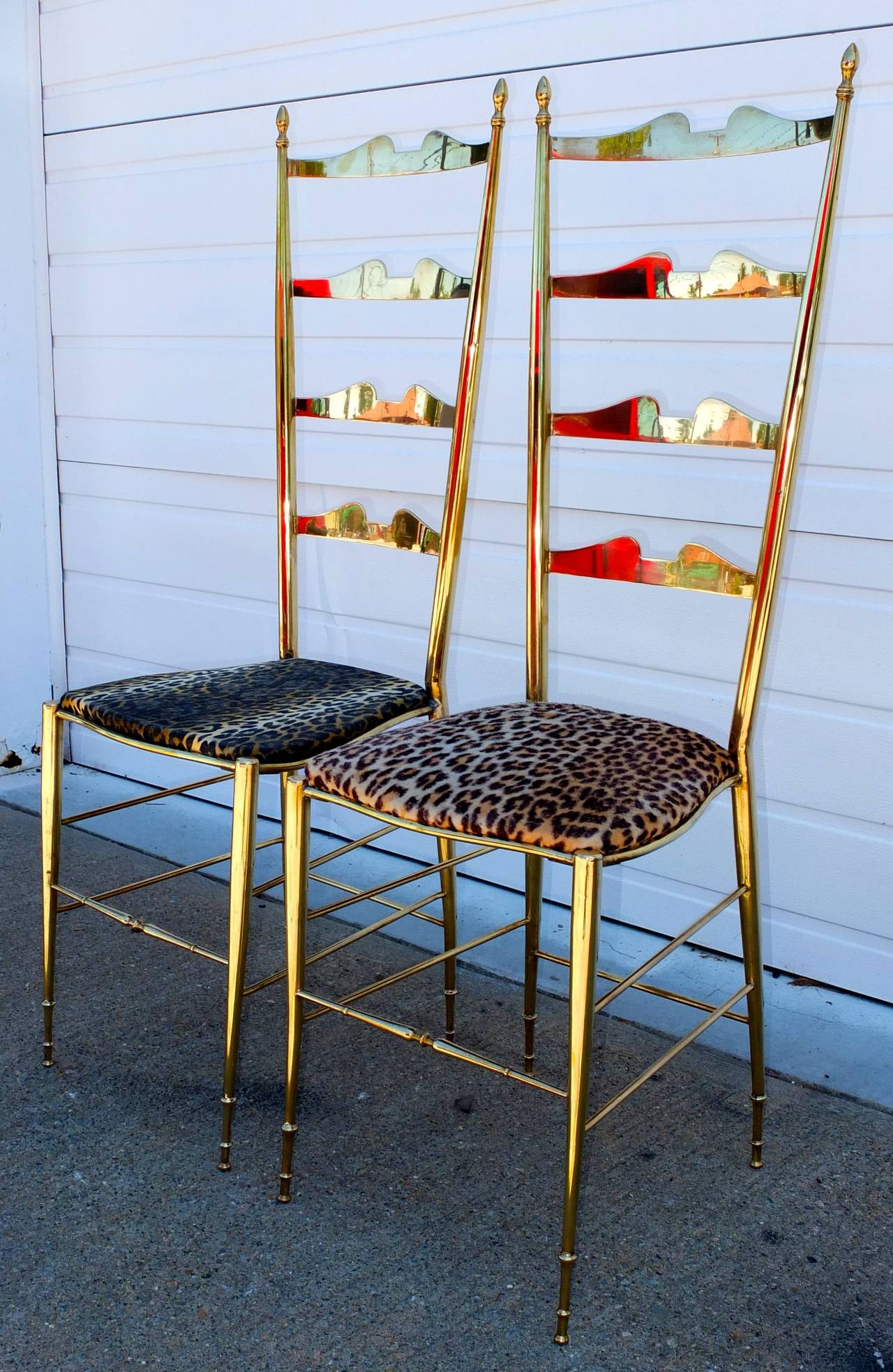 Pair of Brass Chiavari Ladder Back Chairs For Sale 6