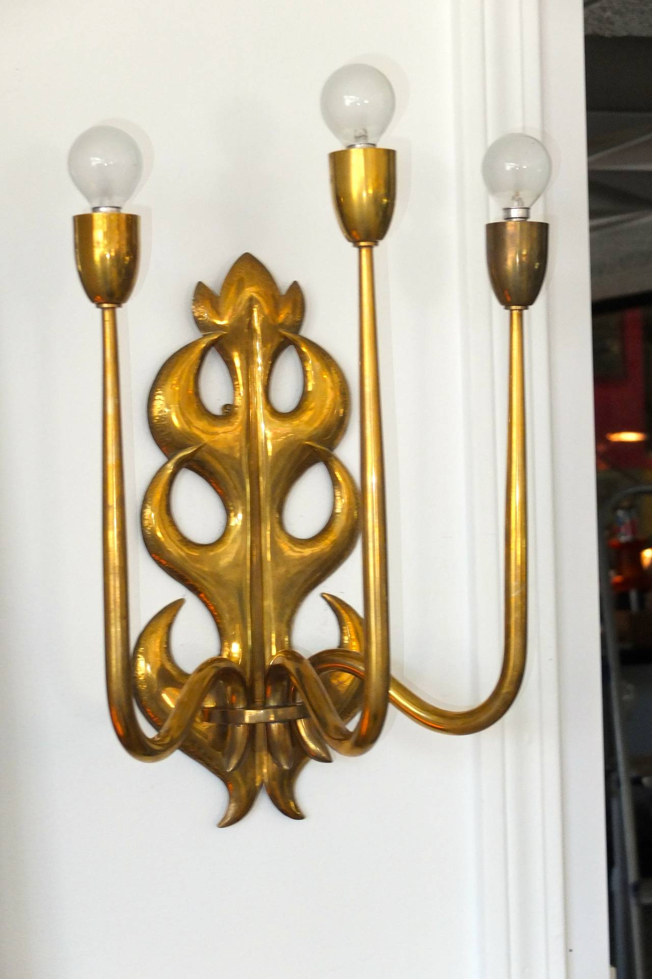 Mid-20th Century Italian Brass Three Branch Sconce  For Sale