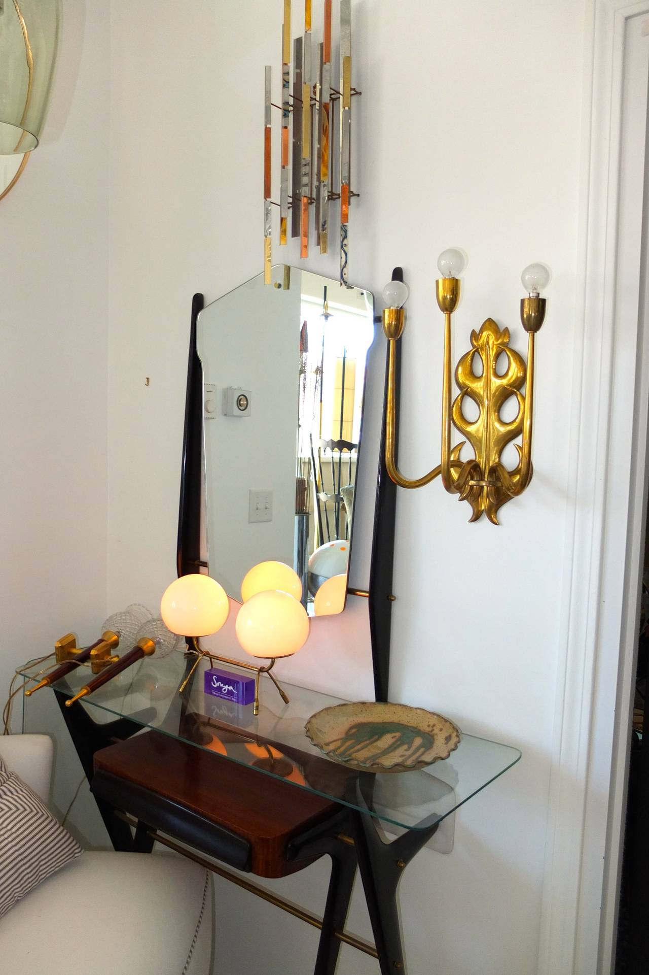 Italian Brass Three Branch Sconce  For Sale 2