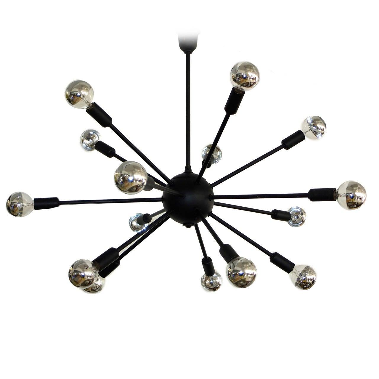 1950s Black on Brass Sputnik Chandelier For Sale