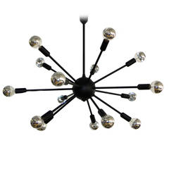 1950s Black on Brass Sputnik Chandelier
