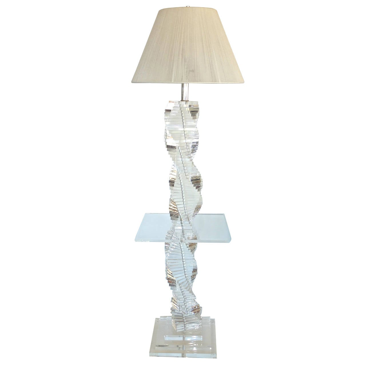 Lucite Stacked Block Floor Lamp with Side Table