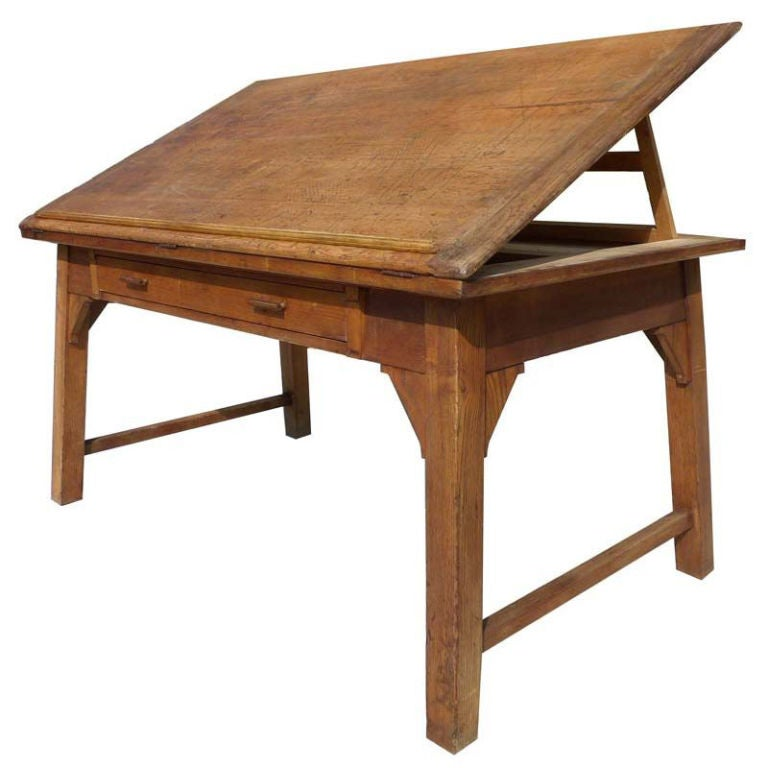 19th century chestnut map or drafting table
