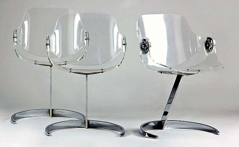boris tabacoff set of three perspex and chrome chairs image 2