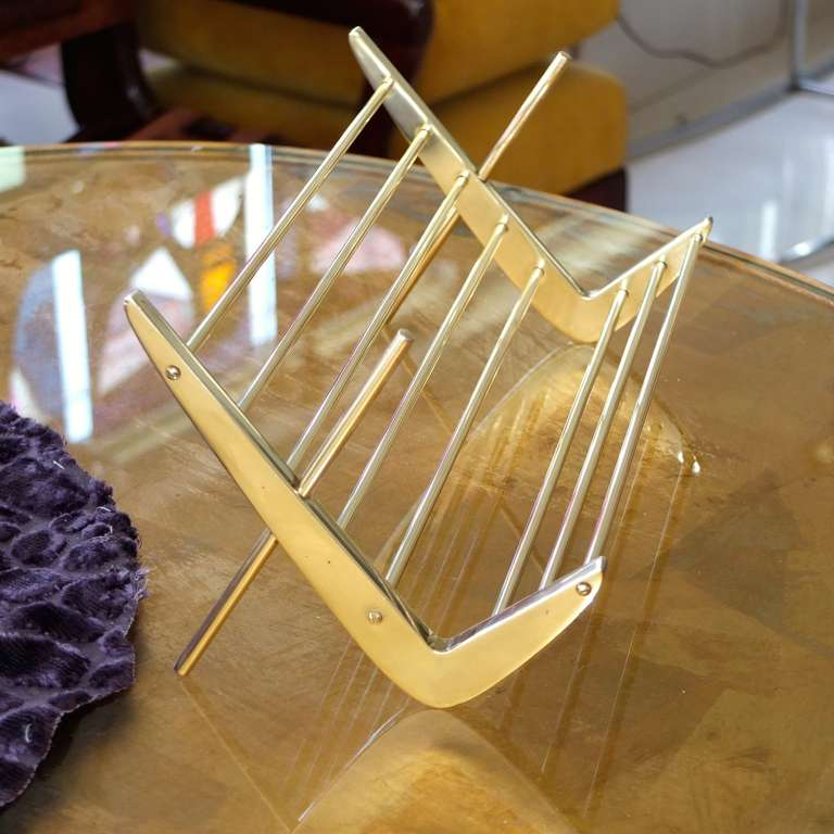 Mid-Century Modern Solid Brass Book Stand For Sale