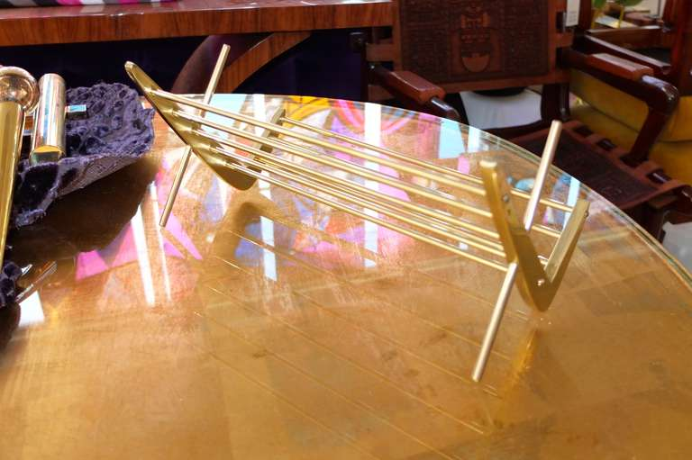 Solid Brass Book Stand In Excellent Condition For Sale In Hingham, MA