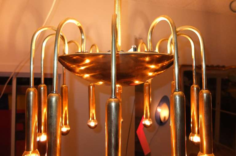 1940's Italian Brass Fountain Form Chandelier For Sale 2