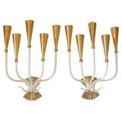 Pair of 1950's Italian Five Light Sconces