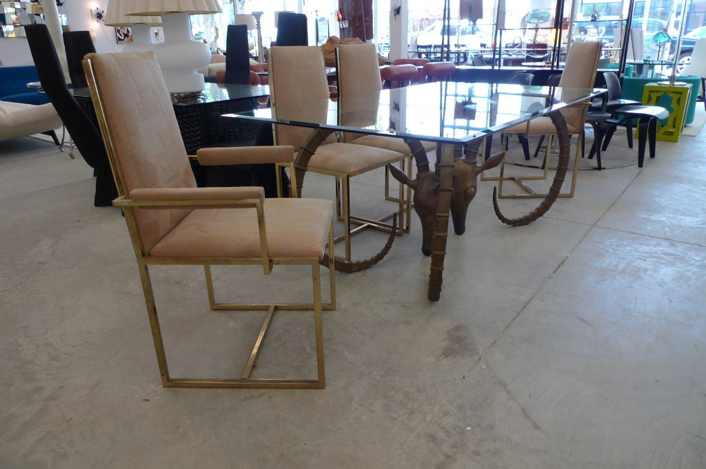 hollywood regency gazelle ibex dining table by phyllis morris at 1stdibs. Black Bedroom Furniture Sets. Home Design Ideas