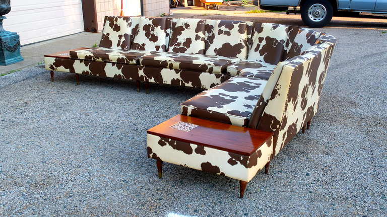 Vintage Four Piece Sectional Sofa In Pony Naugahyde At 1stdibs