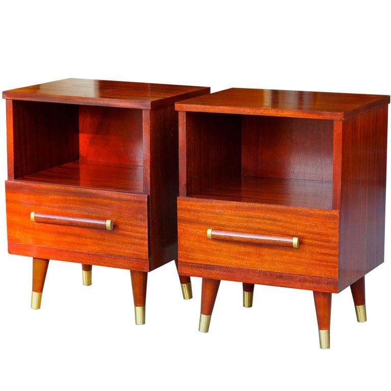 Pair of modern mahogany and brass night stands by gibbard Canadian bedroom furniture manufacturers