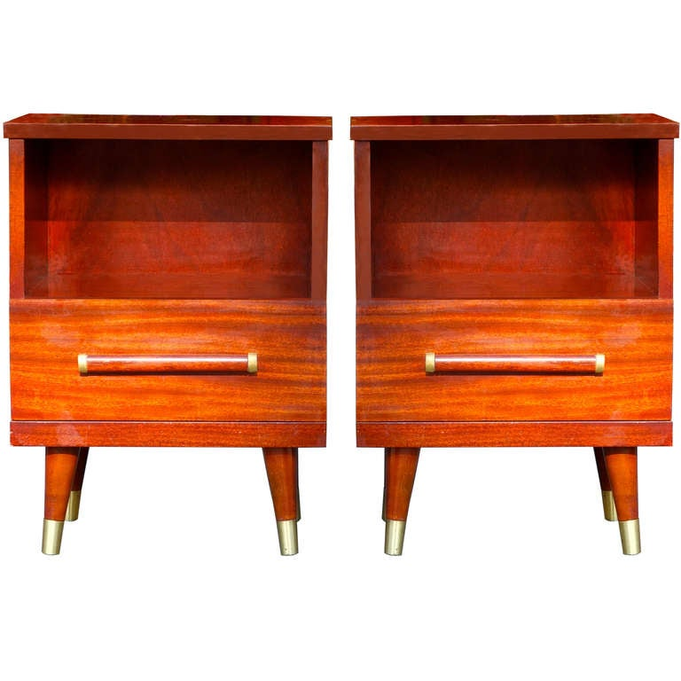 Pair Of Modern Mahogany And Brass Night Stands By Gibbard