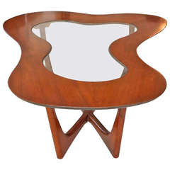 Erno Fabry Biomorphic Walnut & Glass Cocktail Table