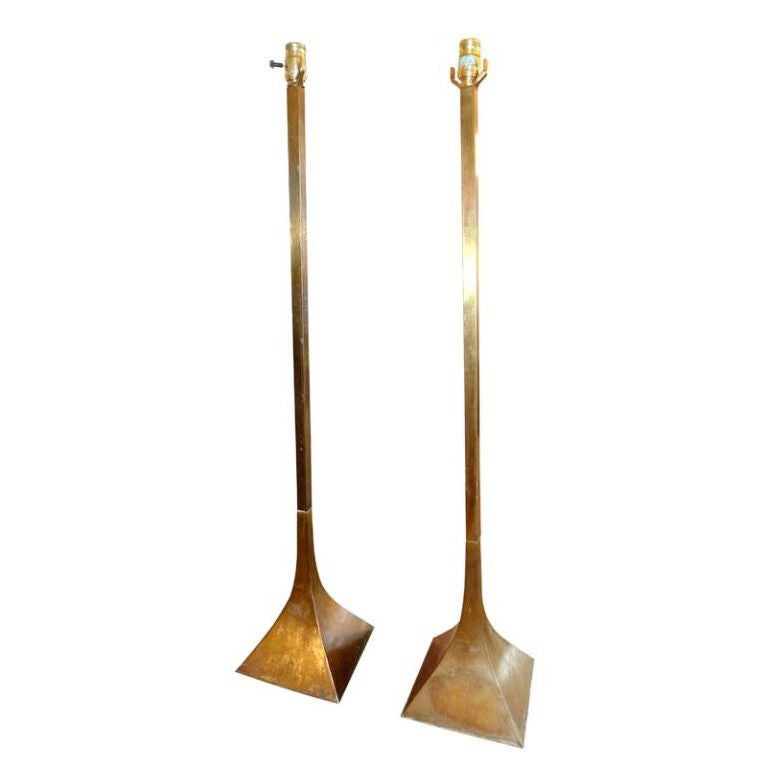 Pair of Brutalist Copper Patinated Lamps