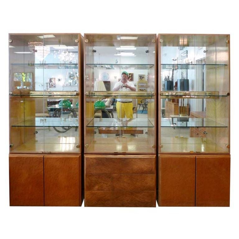 Milo Baughman 3 Cabinet Wall Unit Display Cases At 1stdibs