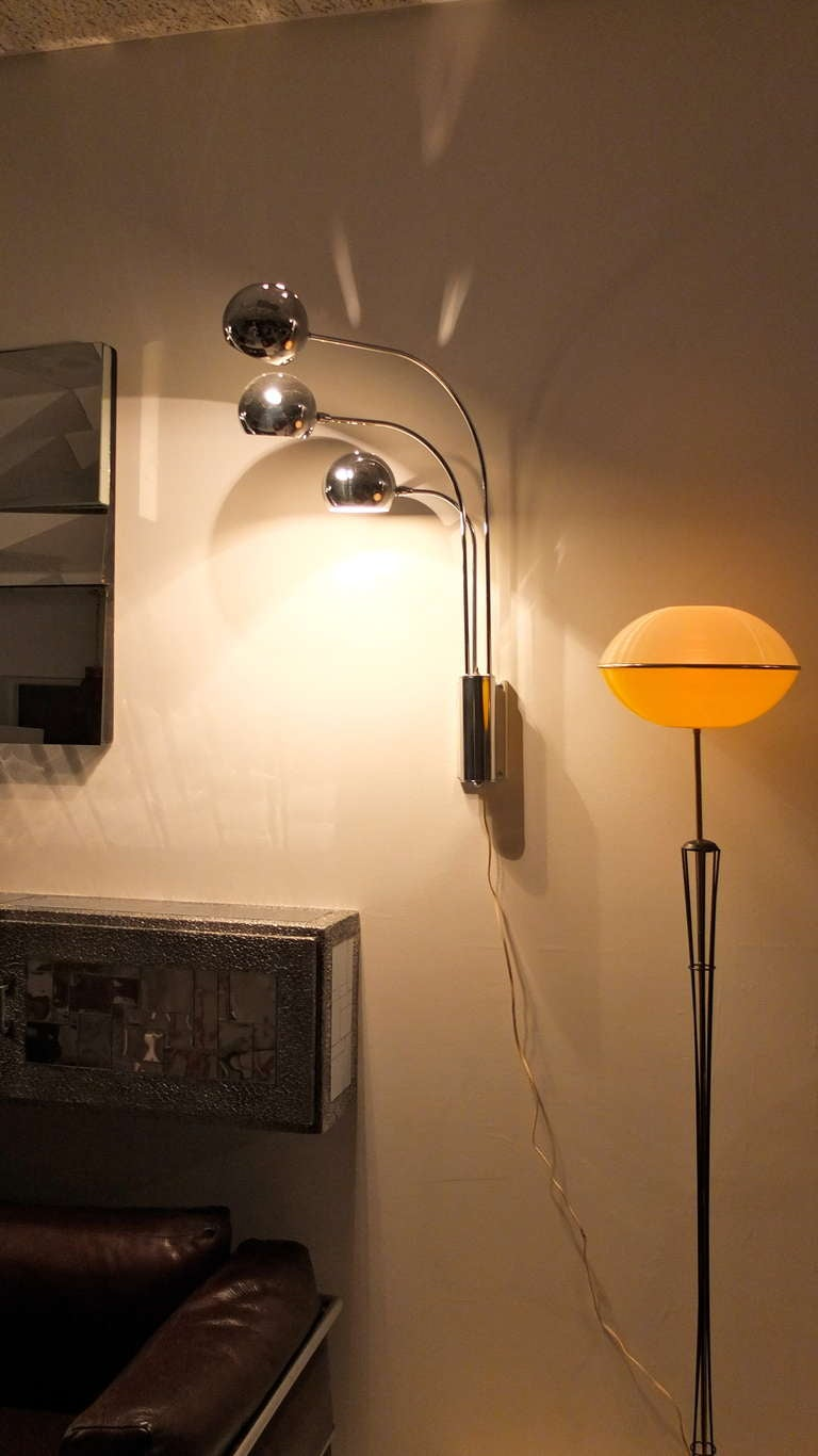 Chrome Eye Ball 3 Arm Wall Lamp by Mutual Sunset Lighting For Sale ...