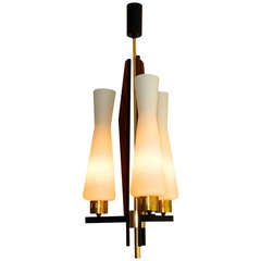 1950's Italian Walnut & Brass Chandelier Attributed to Arteluce