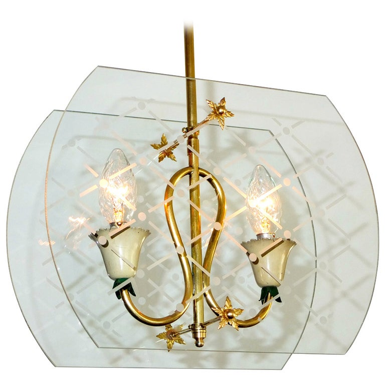 Pietro Chiesa Style Italian Lantern Pendant For Sale