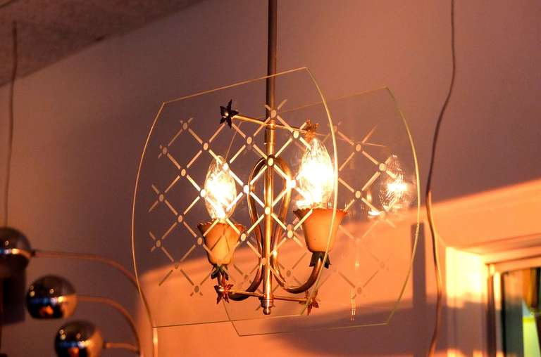 Pietro Chiesa Style Italian Lantern Pendant For Sale 3