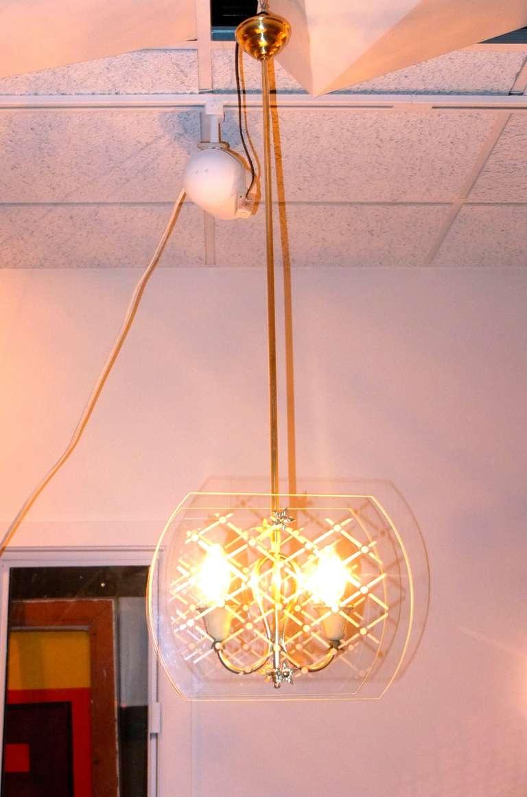 Mid-Century Modern Pietro Chiesa Style Italian Lantern Pendant For Sale