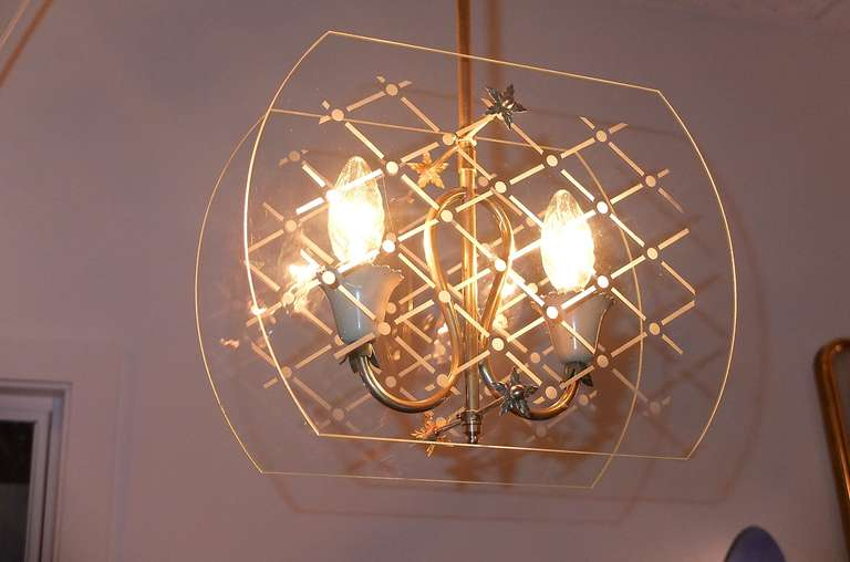 Mid-20th Century Pietro Chiesa Style Italian Lantern Pendant For Sale