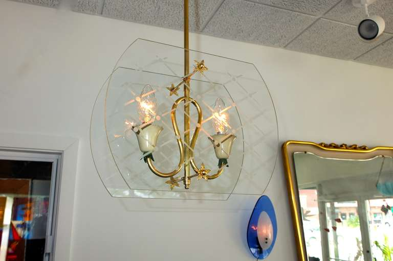Pietro Chiesa Style Italian Lantern Pendant In Excellent Condition For Sale In Hingham, MA