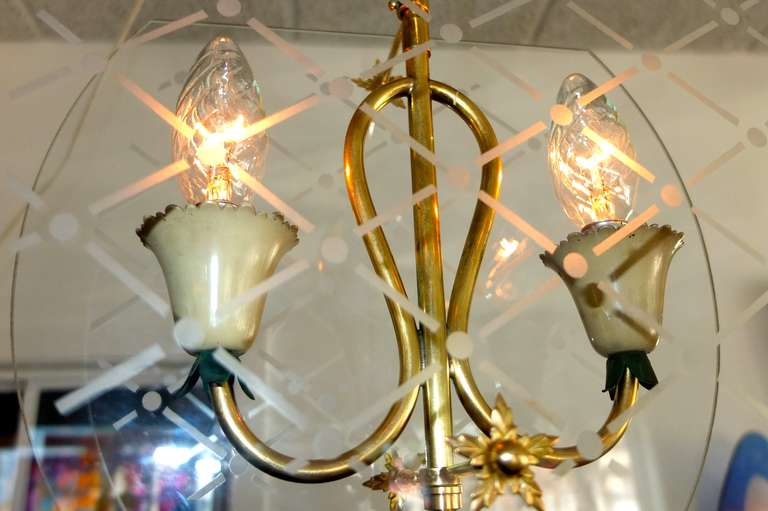 Brass Pietro Chiesa Style Italian Lantern Pendant For Sale