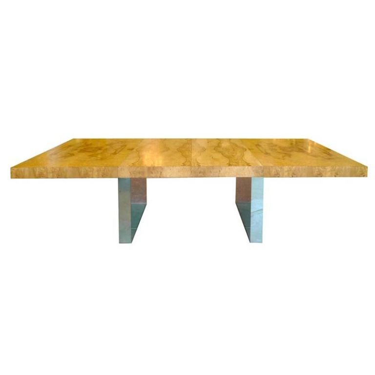 Milo Baughman Burl And Chrome Dining Table At 1stdibs