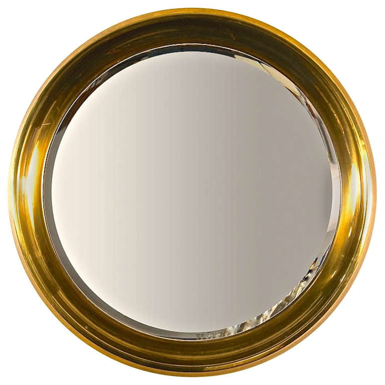 Large Mastercraft Brass Circular Framed Mirror For Sale