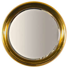Large Mastercraft Brass Circular Framed Mirror