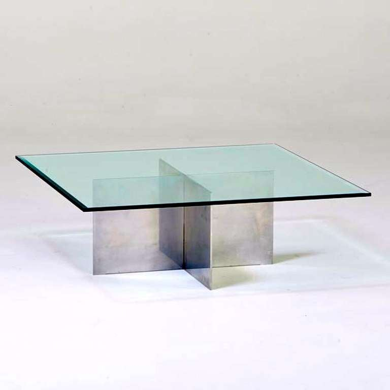 Habitat Herrmann Square Glass Coffee Table: Paul Mayen For Habitat Aluminum Cocktail Table For Sale At