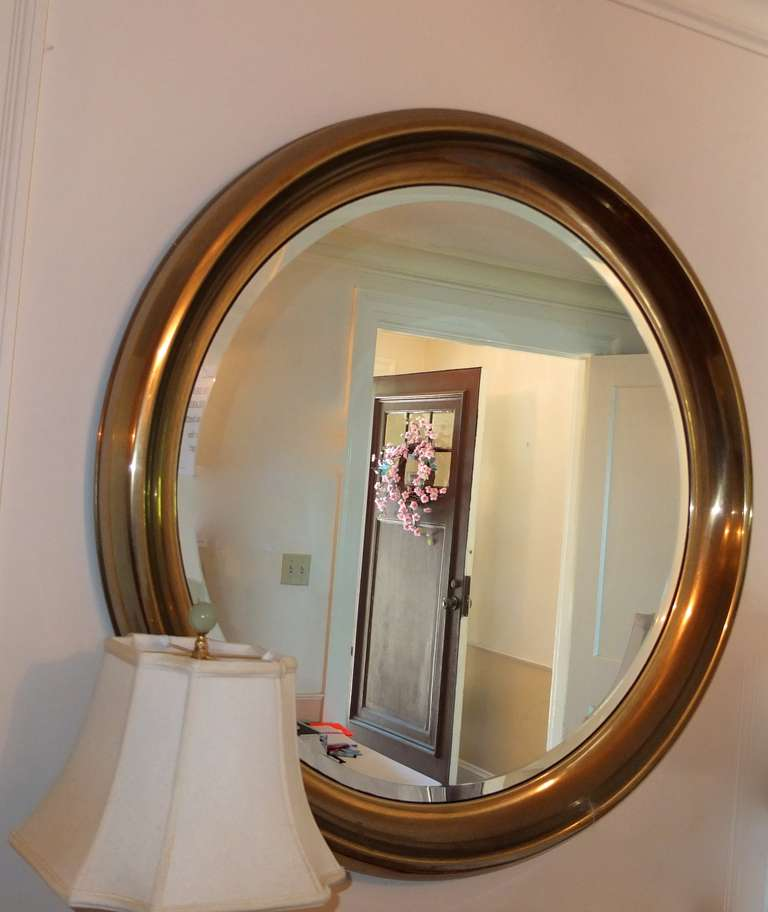 American Large Mastercraft Brass Circular Framed Mirror For Sale