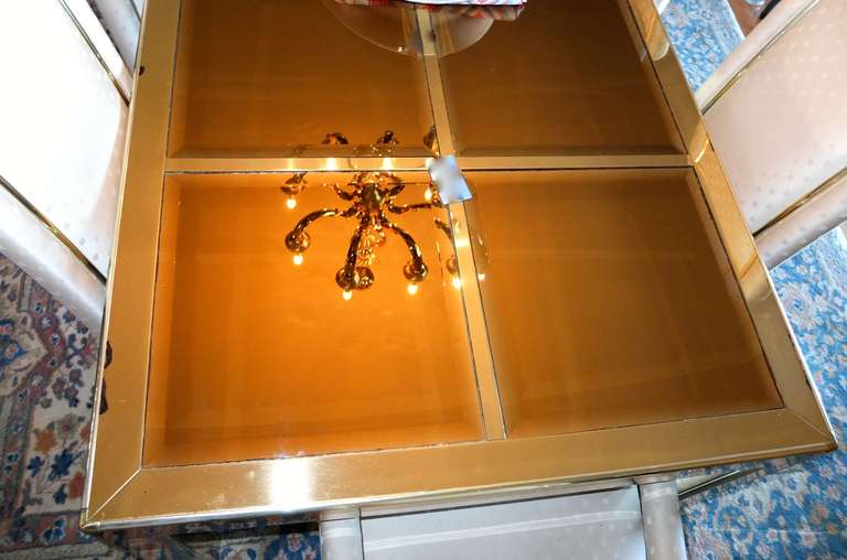 Mastercraft Bronze Mirror and Brass Dining Table In Fair Condition For Sale In Hingham, MA