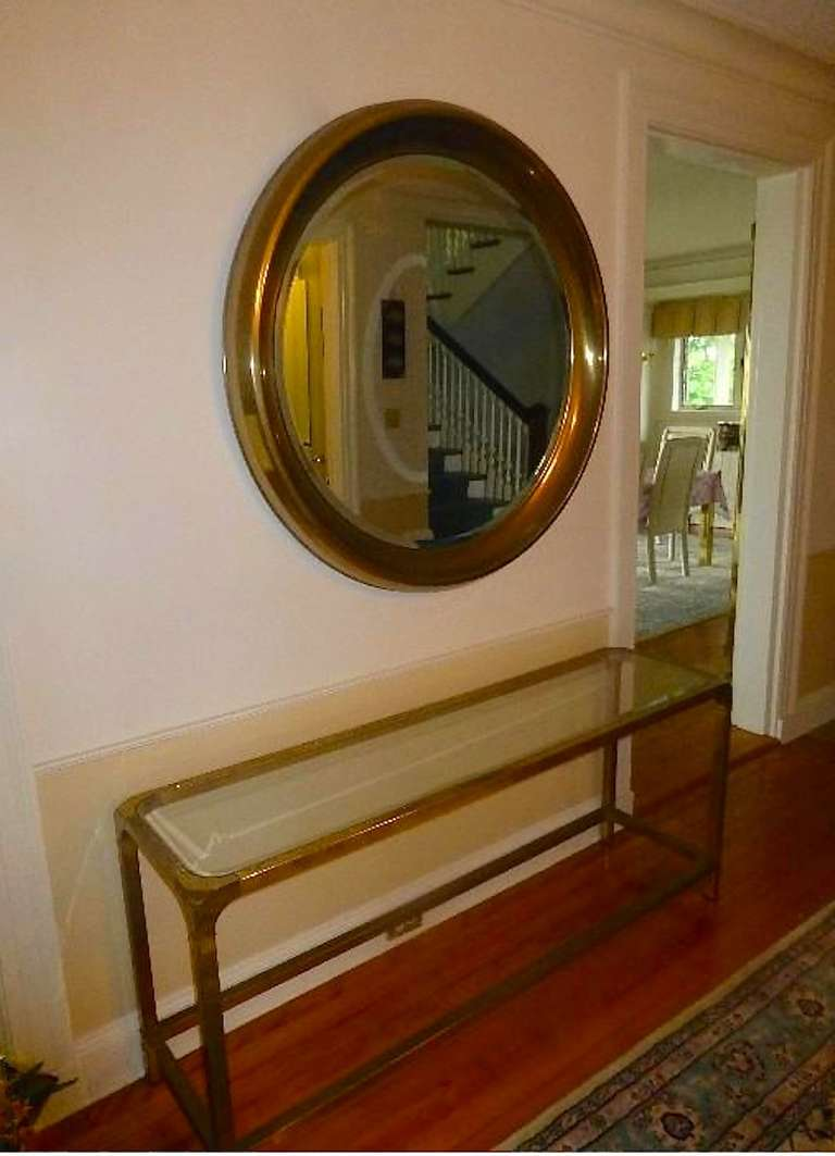 Mid-Century Modern Large Mastercraft Brass Circular Framed Mirror For Sale