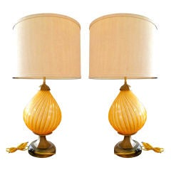 Pair of Barbini Amber Murano Lamps